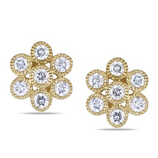 Miadora 14k Yellow Gold 1/2ct TDW Diamond Flower Earrings (G-H, I1-I2)