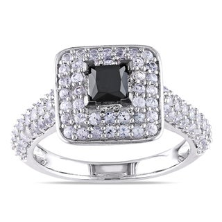 Miadora Sterling Silver 1/2ct Black Diamond and White Sapphire Ring