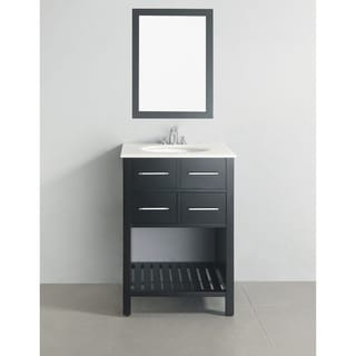 Manhattan Marble Top 24-inch Black Bath Vanity
