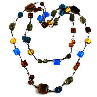Handmade Colorful Glass Bead Brown Cord Long Necklace (China)