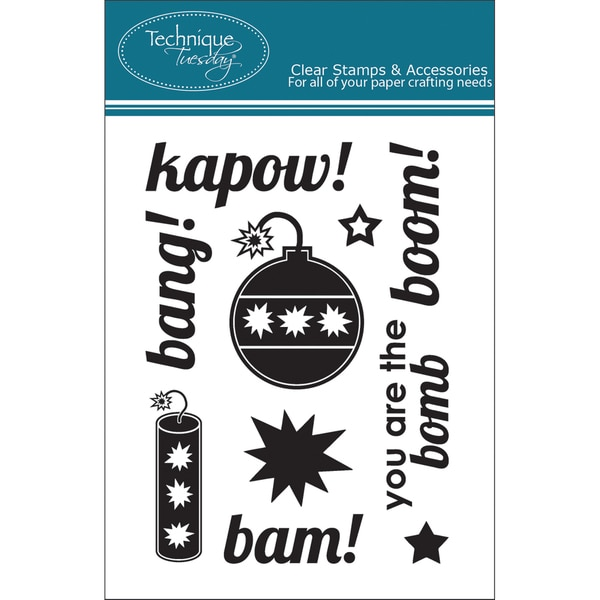 """Technique Tuesday Clear Stamps 3""""X4""""-Kapow"""