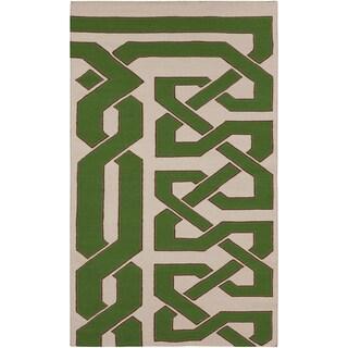 Beth Lacefield Hand-woven Aden Flatweave Reversible Peridot Wool Rug (2' x 3')