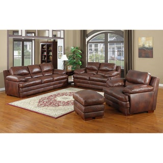 Baron Brown Leather Sofa Set