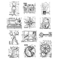 Tim Holtz Large Cling Rubber Stamp Set-Mini Blueprints 3