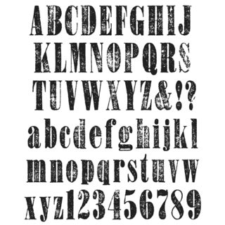 Tim Holtz Large Cling Rubber Stamp Set-Worn Text