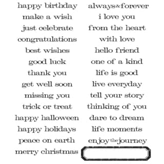 Tim Holtz Large Cling Rubber Stamp Set-Simple Sayings