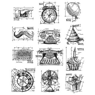 Tim Holtz Large Cling Rubber Stamp Set-Mini Blueprints 4