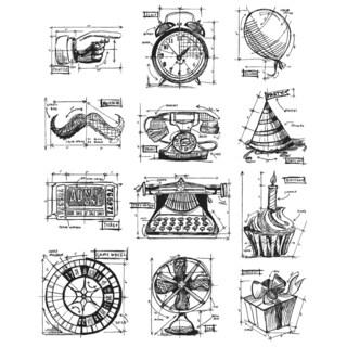 Tim Holtz Large Cling Rubber Stamp Set-Mini Blueprints 4