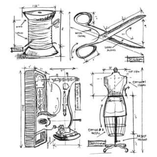 Tim Holtz Cling Rubber Stamp Set-Sewing Blueprint