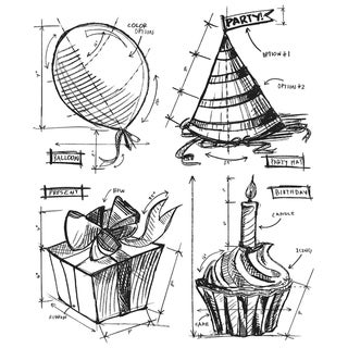 Tim Holtz Cling Rubber Stamp Set-Birthday Blueprint