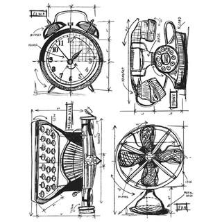 Tim Holtz Cling Rubber Stamp Set-Vintage Things Blueprint