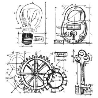 Tim Holtz Cling Rubber Stamp Set-Industrial Blueprint