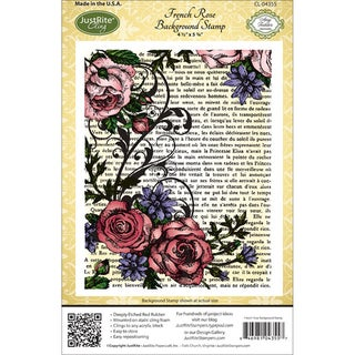 """JustRite Stampers Cling Background Stamp 4-1/2""""X5-3/4""""-French Rose"""