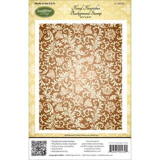 "JustRite Stampers Cling Background Stamp 4-1/2""X5-3/4""-Floral Florishes"