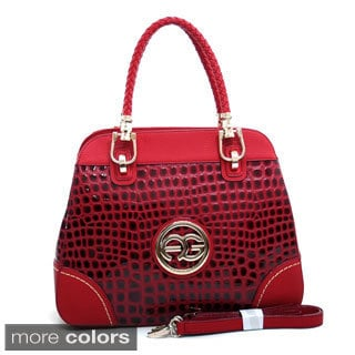 Anais Gvani Braided Straps Croco Embossed Tote