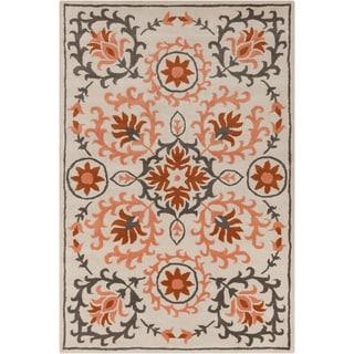 Allie Handmade Floral Cream Wool Rug (5' x 7'6)