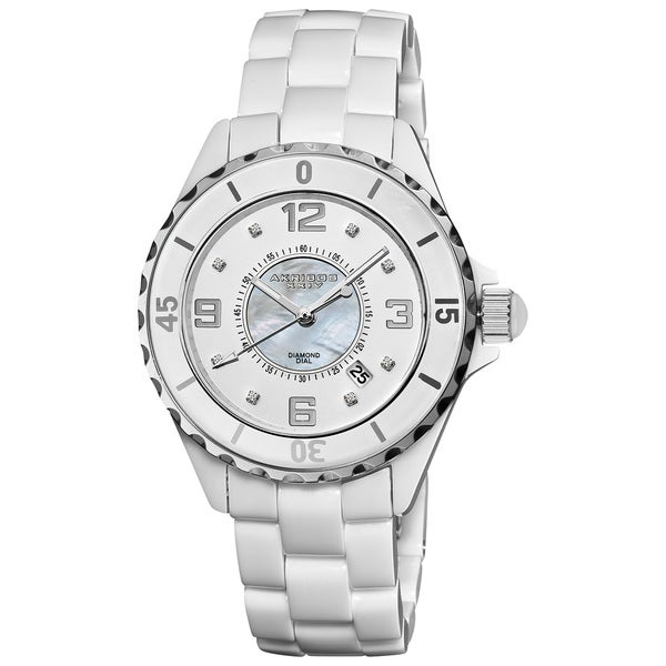 Akribos XXIV Women's Midsize Ceramic Quartz Date Diamond Watch