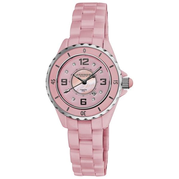 Akribos XXIV Women's Ceramic Quartz Date Diamond Watch