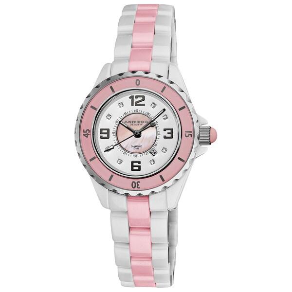 Akribos XXIV Women's Ceramic Quartz Date Diamond Pink Watch