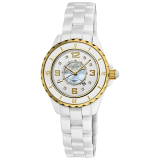 Akribos XXIV Women's Ceramic Quartz Date Diamond Goldtone Watch