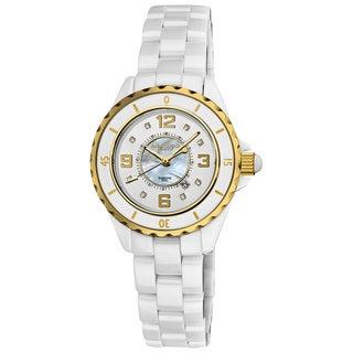Akribos XXIV Women's Ceramic Quartz Date Diamond Goldtone Watch