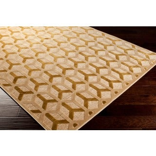 Berde Contemporary Gold Geometric Rug (7'6 x 10'6)