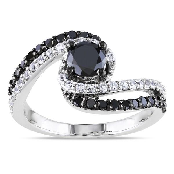 Miadora Silver 3/4ct TDW Black Diamond and Created Sapphire Ring