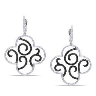 SHIRA 14k White Gold 1 3/8ct TDW Black and White Diamond Earrings (G-H, SI1-SI2)