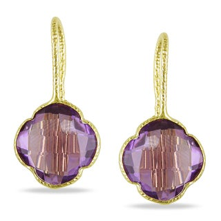 Miadora 14k Yellow Gold Fancy Amethyst Dangle Earrings