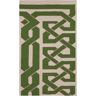 Beth Lacefield Hand-woven Peridot Wool Rug (5' x 8')