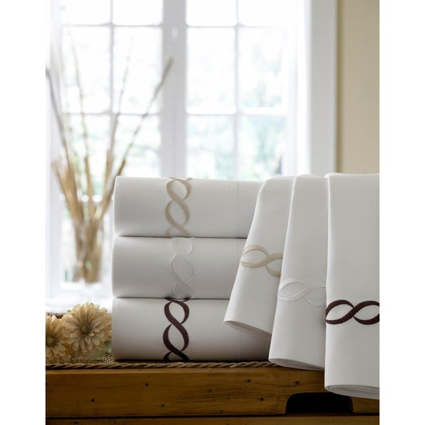 Cable Embroidered Egyptian Cotton Collection 300 Thread Count Pillowcases (Set of 2)