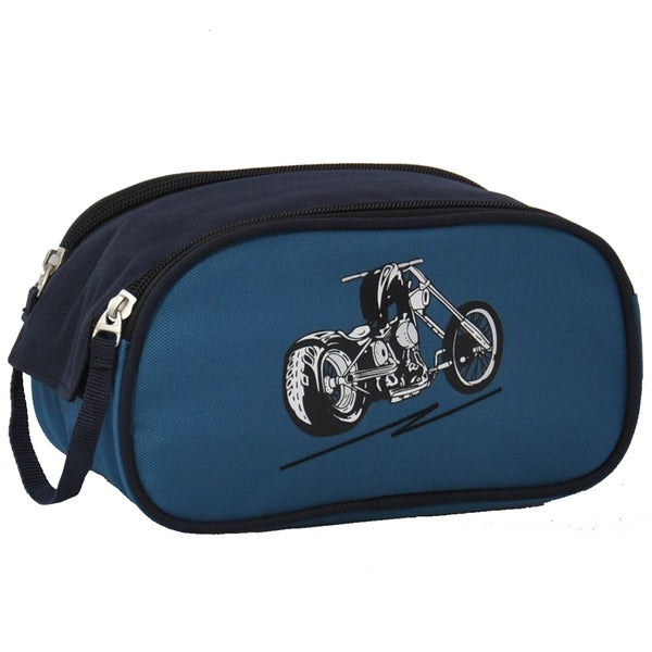 Obersee Blue Motorcycle Kids Toiletry / Accessory Bag