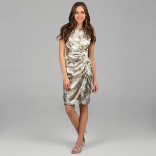 London Times Women's Mocha Printed Satin Sheath Dress