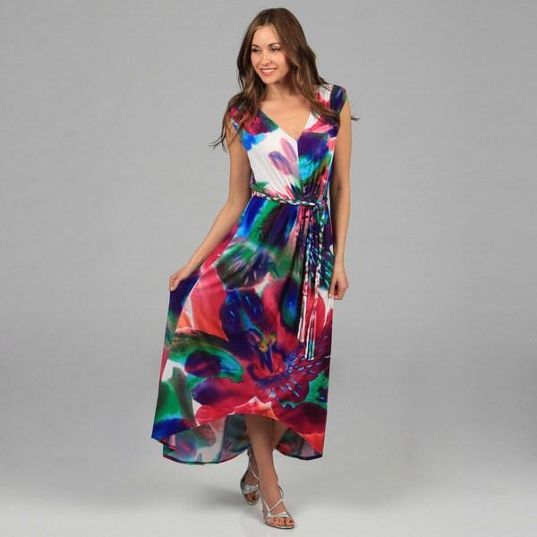 London Times Magenta Abstract Matte Jersey Maxi Dress