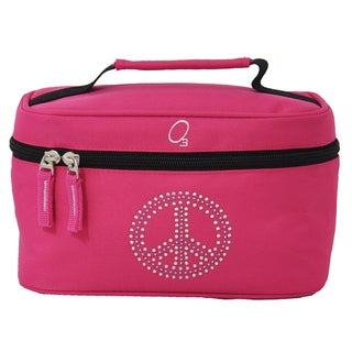 Obersee Bling Rhinestone Peace Train Case Toiletry / Accessory Bag