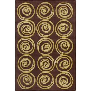 Allie Handmade Spirals Wool Rug (5' x 7'6)
