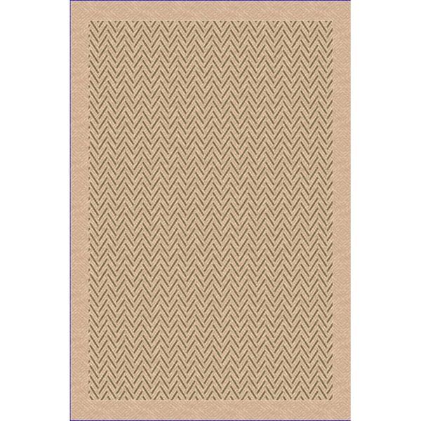 Woven Indoor/ Outdoor Patio Herringbone Beige/ Green Rug (1'10 x 2'11)