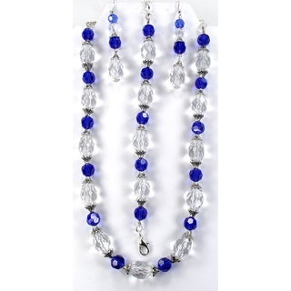 Silverplated Sapphire and Clear Crystal Wedding Jewelry Set