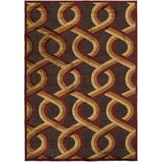 Argus Contemporary Red Geometric Lattice Rug (5'2 x 7'6)