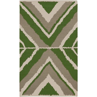 Beth Lacefield Hand-woven Adney Flatweave Spinach Wool Rug (8' x 11')