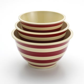 Paula Deen Signature Pantryware 3-piece Red Stripe Striped Mixing Bowl Set