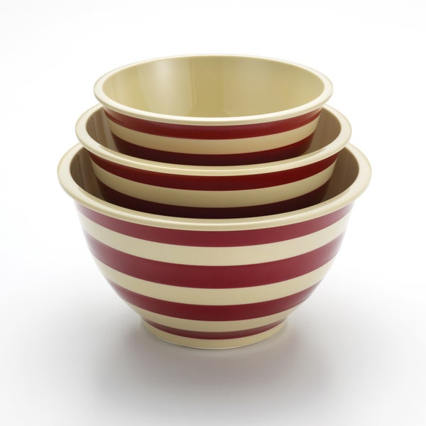 Paula Deen Signature Pantryware Red Stripe 3-Piece Mixing Bowl Set