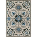 Handmade Allie Floral Cream Wool Rug (5' x 7'6)