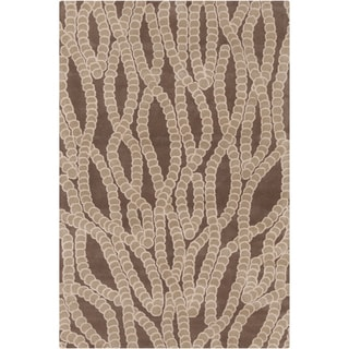 Handmade Allie Abstract Brown Wool Rug (5' x 7'6)