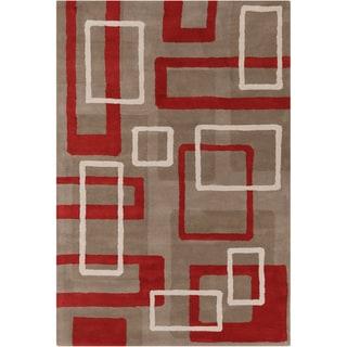 Handmade Allie Geometric Taupe Wool Rug (5' x 7'6)