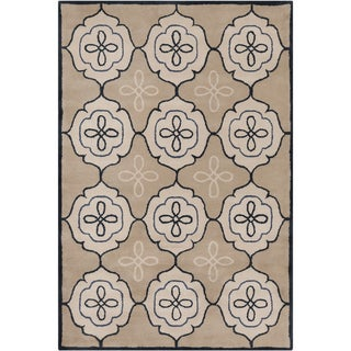 Handmade Allie Abstract Tan Wool Rug (5' x 7'6)