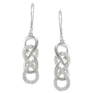 La Preciosa Sterling Silver Cubic Zirconia Intertwined Infinity Earrings