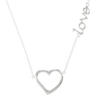 La Preciosa Sterling Silver Open Heart and 'Love' Station Necklace