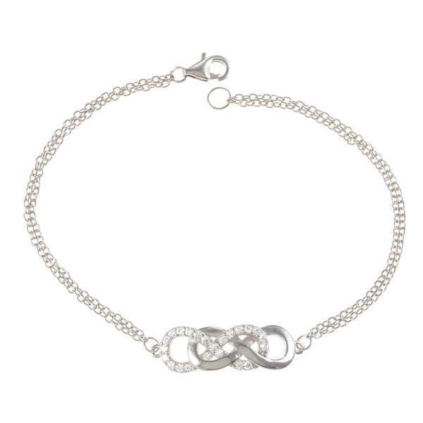 La Preciosa Sterling Silver Cubic Zirconia Intertwined Infinity Bracelet