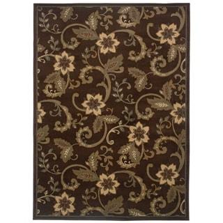 Indoor Floral Brown/ Ivory Rug (9'10 x 12'9)
